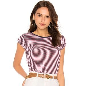 Free People Clare Striped Tee Red White Blue Large